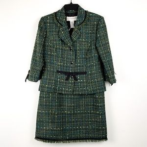 Vintage 90s boucle tweed 2-piece Sag Harbor suit, jacket and skirt, sizes 8-10